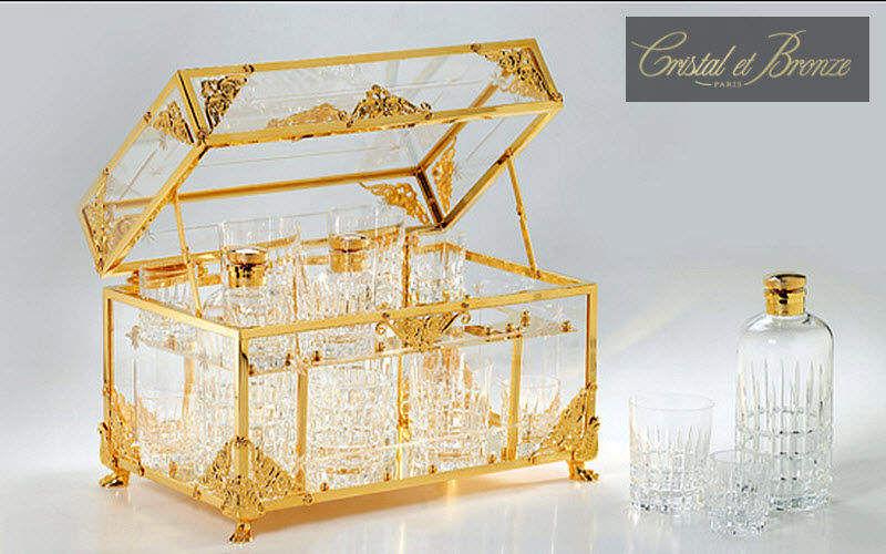 Cristal Et Bronze Cave à liqueur Carafes Verrerie  |