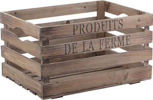Aubry-Gaspard - caisse en bois vieilli produits de la ferme 40x30x - Caisse De Rangement