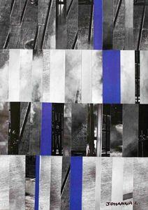 JOHANNA L COLLAGES - city 2 : blue touch 60x80 cm - Tableau Décoratif