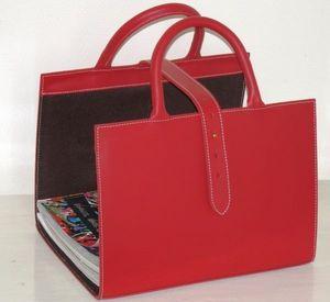 PHILIPPE GRANET - range revues en cuir rouge - Porte Revues