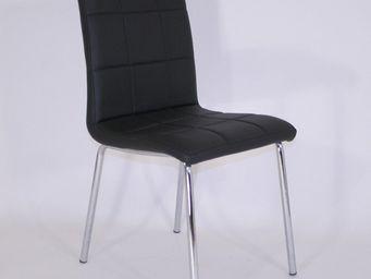 CLEAR SEAT - chaises simili cuir noir matelassé batz lot de 6 - Chaise