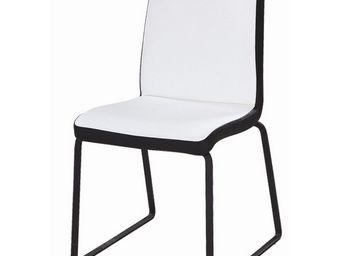 CLEAR SEAT - chaises blanches et noires simili cuir husky lot d - Chaise Visiteur