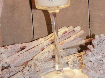 Le Pere Pelletier - photophore verre à pied avec bougie senteur de noë - Photophore
