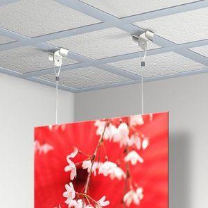 DECOHO - kit accroche plafond centrale (accroche x 2 + câb - Tringle D'accrochage Tableau