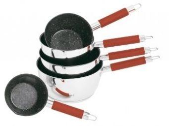 SCHUMANN PROFESSIONNEL - 5 casseroles en pierre silicone manche rouge schum - Casserole