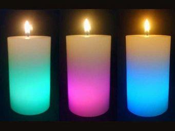 ZEN LIGHT - 3 bougies en cire cylindre éclairage led 5x5x12cm - Bougie Led