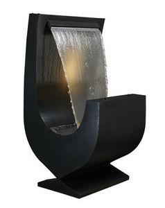 Cactose - fontaine niagara noire en aluminium avec jardinièr - Fontaine Centrale D'extérieur