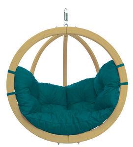 Amazonas - chaise globo avec coussin vert à suspendre 121x118 - Balancelle