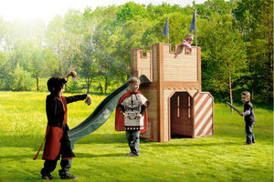 AXI - chateau fort arthur en cèdre avec toboggan - Maison De Jardin Enfant