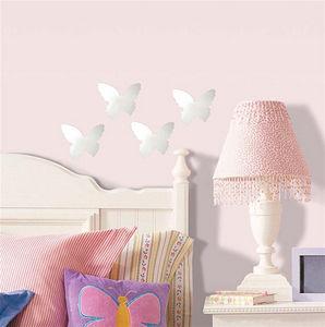 RoomMates - 4 stickers miroirs papillons 12x14cm - Sticker Décor Adhésif Enfant