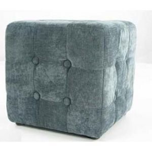 International Design - pouf velours carré - couleur - gris - Pouf