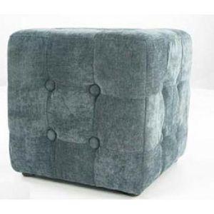 International Design - pouf velours carré - couleur - gris - Pouf