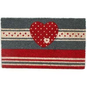 FAYE - paillasson coeur gris et rouge - Paillasson