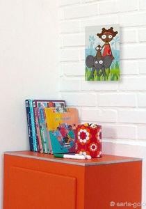 SERIE GOLO - toile imprimée a dos d'éléphant 14x22cm - Tableau Décoratif Enfant
