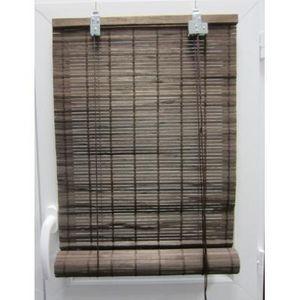 Luance - store enrouleur lattes bambou marron 90x180 cm - Store Enrouleur