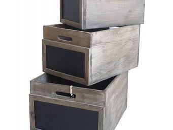 L'HERITIER DU TEMPS - lot 3 casiers bois et ardoise - Casier De Rangement