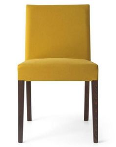 Calligaris - chaise latina low en hêtre et tissu couleur jaune  - Chaise
