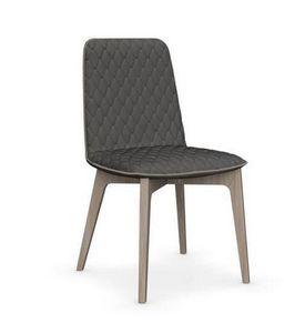 Calligaris - chaise sami en bois naturel et tissu gris foncé de - Chaise