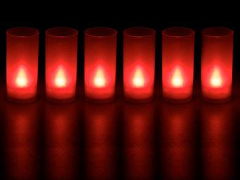 ZEN LIGHT - 6 bougies rouge souffle led avec photophore 4x4x1 - Bougie Led
