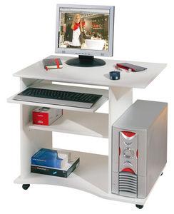 WHITE LABEL - bureau à roulette blanc pour ordinateur design - Bureau