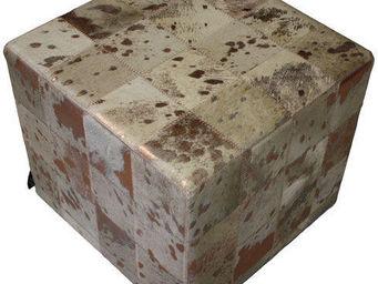 Tergus - pouf vache beige acidé bronze ref.ab1 - Pouf