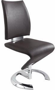 COMFORIUM - lot de 2 chaises marron en simili cuir - Chaise