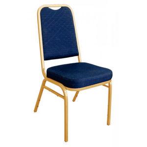 COMFORIUM - lot de 4 chaises de banquet coloris bleu à dossier - Chaise