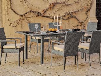HEVEA - table de jardin rallonge résine grise mali - Salle À Manger De Jardin