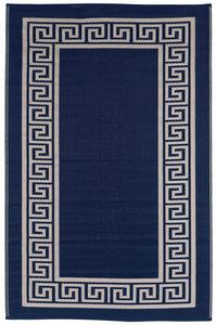 FABHABITAT - tapis intérieur extérieur athens bleu marine et cr - Tapis Contemporain