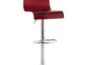 KOKOON DESIGN - tabouret de bar rouge en métal chromé et acrylique - Chaise Haute De Bar