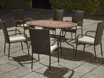 HEVEA - ensemble table de jardin et fauteuils résine 6 fau - Salle À Manger De Jardin