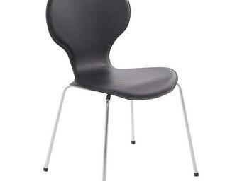 KOKOON DESIGN - chaise design en acier et similicuir noir 44x39x85 - Chaise