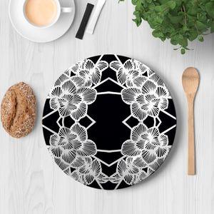 la Magie dans l'Image - assiette graphic flowers black - Assiette De Présentation