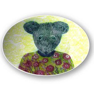 la Magie dans l'Image - assiette ma petite souris fond fluo - Assiette De Présentation