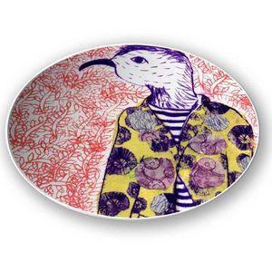 la Magie dans l'Image - assiette mon petit oiseau fond orange - Assiette De Présentation