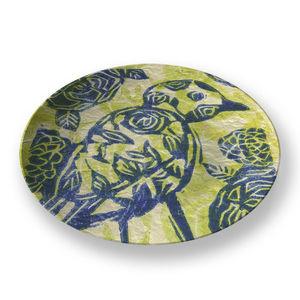 la Magie dans l'Image - assiette oiseau batik vert - Assiette De Présentation