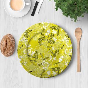 la Magie dans l'Image - assiette pivoines moutarde - Assiette De Présentation