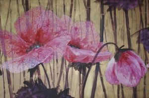 Fabienne Colin - dentelles roses - Tableau Contemporain