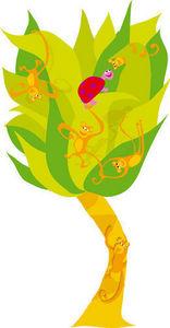 DECOLOOPIO - arbre a singe - Sticker Décor Adhésif Enfant