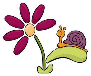 DECOLOOPIO - escargot sur sa fleur - Sticker Décor Adhésif Enfant