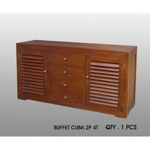 DECO PRIVE - buffet cuba 2 p - 4 t acajou deco prive - Buffet Bas