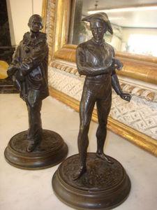 Antiquit�s Braga - pierrot et arlequin - Sculpture