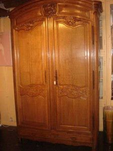Grand Papa Antiquites - armoire à chéne clair - Armoire À Portes Battantes