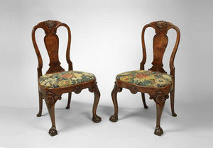 F P FINE ART - george ii burr walnut side chairs - Chaise