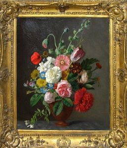 ARADER GALLERIES - nature morte, bouquet de fleurs - Huile Sur Toile Et Huile Sur Panneau