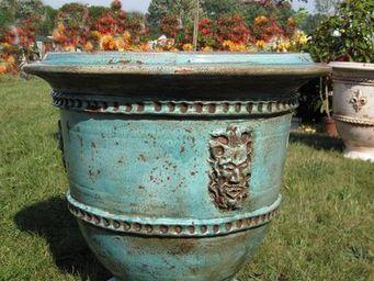 PLANTERS-CONTACT-PROVENCE - grand vase bachus turquoise ø 85cm, h80cm, 85kg - Pot De Jardin