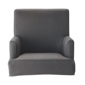 Maisons du monde - housse de fauteuil de bar taupe lin lounge - Housse De Fauteuil