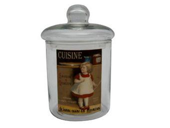 Antic Line Creations - pot en verre petite fille avec couvercle 8,7x14,5c - Pot À Coton