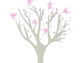 LILI POUCE - arbre petites fees roses - Sticker D�cor Adh�sif Enfant