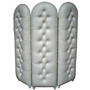 DECO PRIVE - paravent 3 volets capitonne aspect cuir blanc deco - Paravent